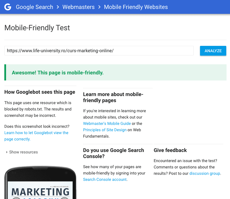 google mobile friendly